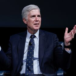 """Supreme Court Justice Neil Gorsuch speaks with students at Brigham Young University during """"An Evening With Neil Gorsuch"""" hosted by the Hatch Center on Friday, Sept. 20, 2019."""