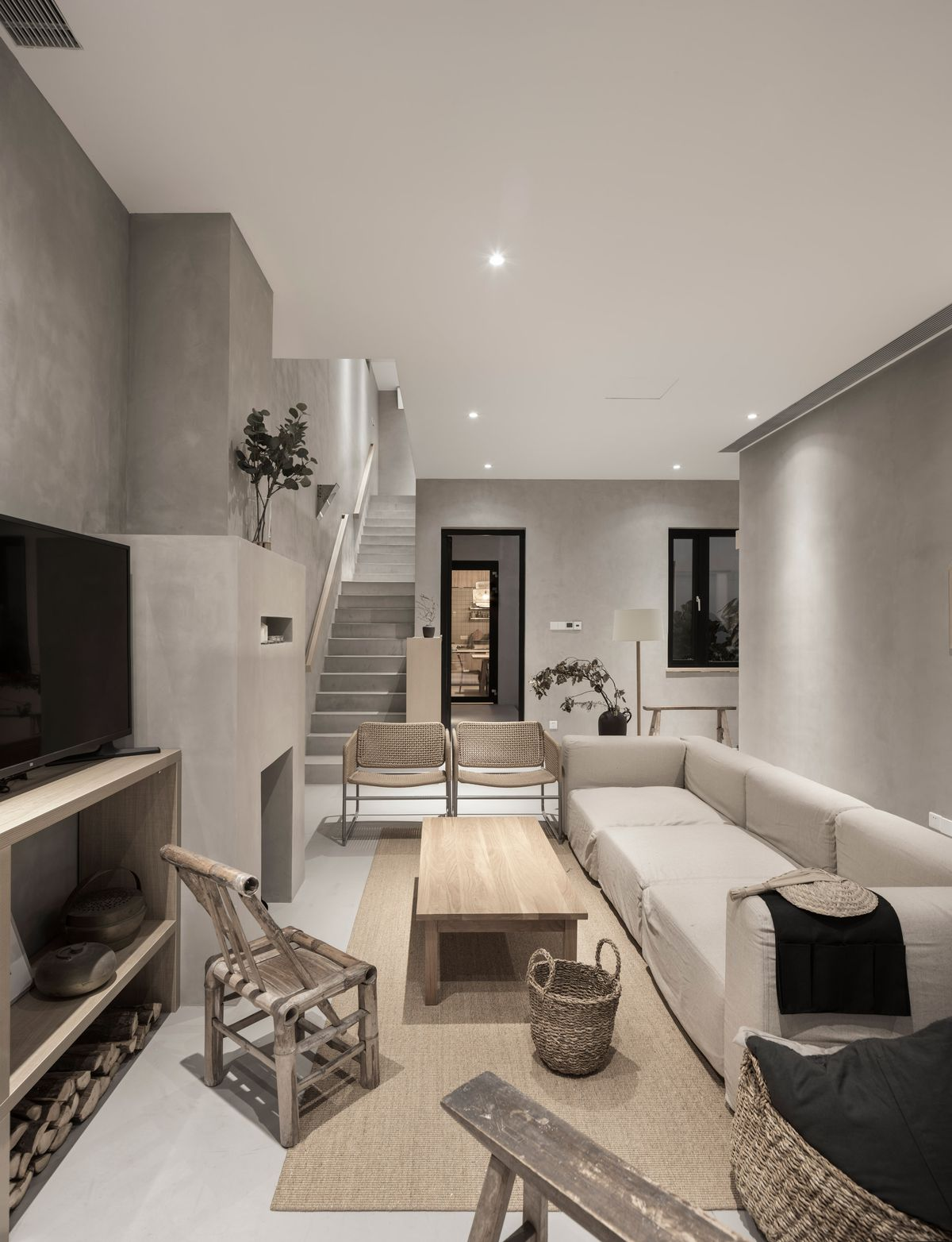 Living room with neutral colored furniture