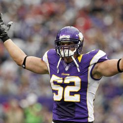 Minnesota Vikings outside linebacker Chad Greenway reacts after a tackle during the first half of an NFL football game against the San Francisco 49ers Sunday, Sept. 23, 2012, in Minneapolis.
