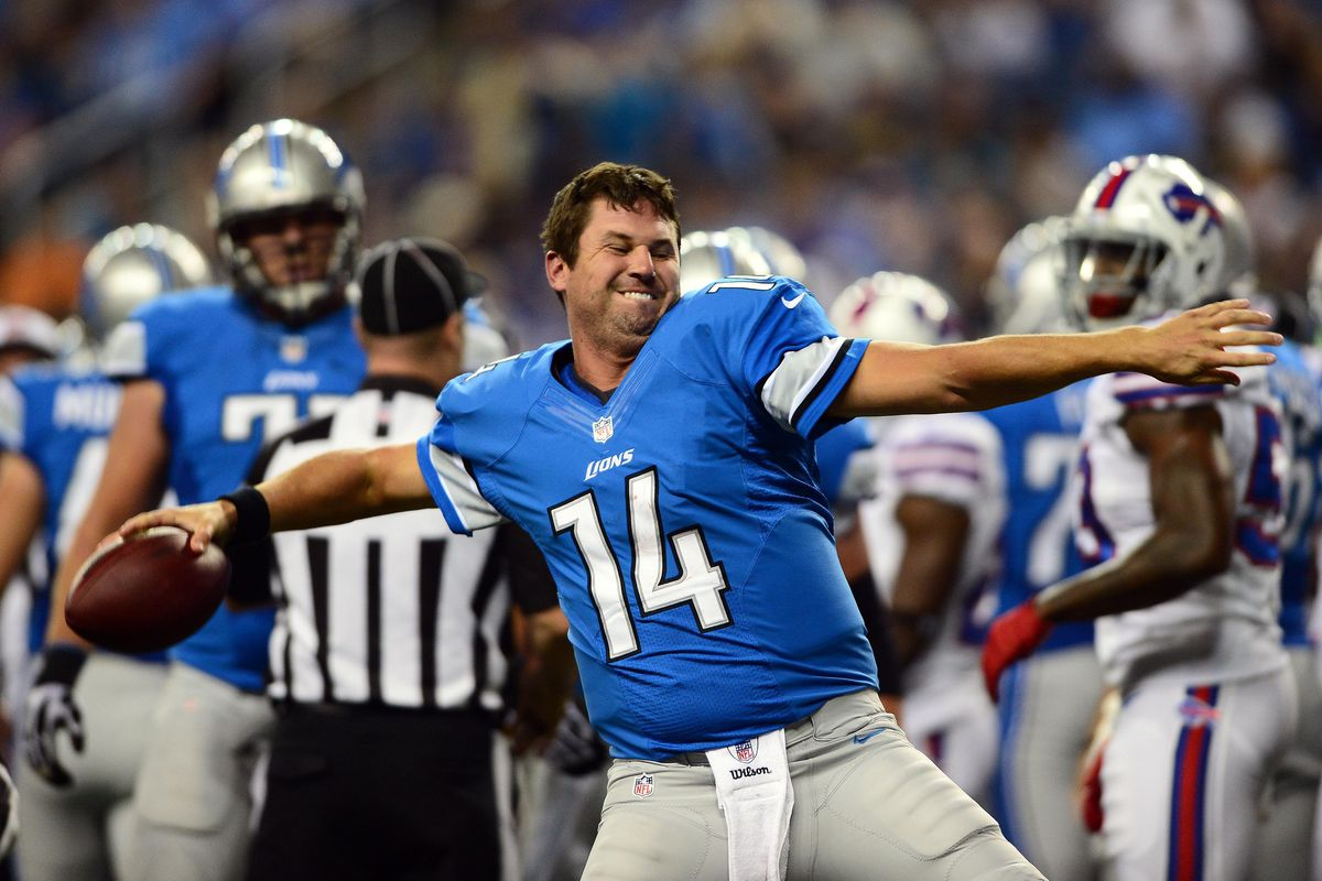 Aug 30, 2012; Detroit, MN, USA; Detroit Lions quarterback Shaun Hill (14) spikes the ball after scoring a touchdown in the first quarter against the Buffalo Bills in a preseason game at Ford Field. Mandatory Credit: Andrew Weber-US Presswire