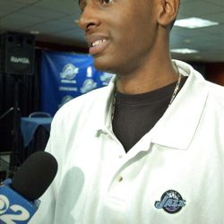 Jazz draft selection, CJ Miles, answers questions from the media at the Delta Center in Salt Lake City.   Photo: Michael Brandy.  June 29, 2005