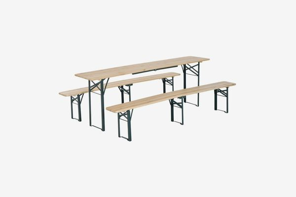 A foldable picnic table made of wood with an iron frame