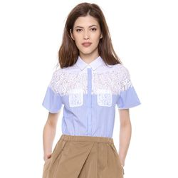 """<i>No. 21 blouse, <a href=""""http://www.shopbop.com/striped-blouse-lace-pockets-no/vp/v=1/1514370262.htm?fm=search-viewall-shopbysize"""">$380</a></i><br> """"I am always drawn to a bit of lace and have more stripes than I can count in my wardrobe, so I'm really"""