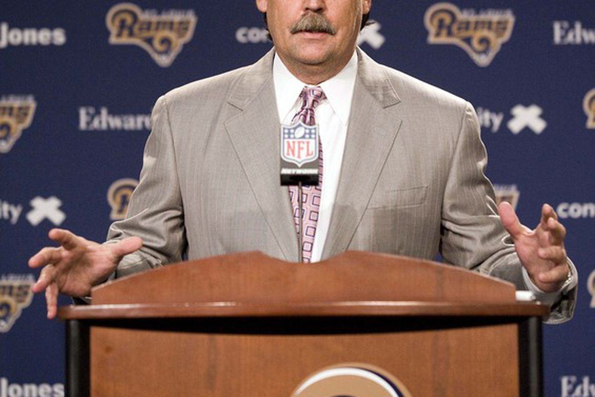 April 27, 2012; St. Louis, MO, USA; St. Louis Rams head coach Jeff Fisher introduces 2012 first round draft pick Michael Brockers to the media at ContinuityX Training Center. Mandatory Credit: Jeff Curry-US PRESSWIRE