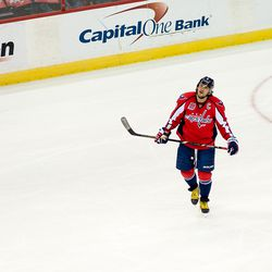 Ovechkin Skates to Bench Looking at Scoreboard
