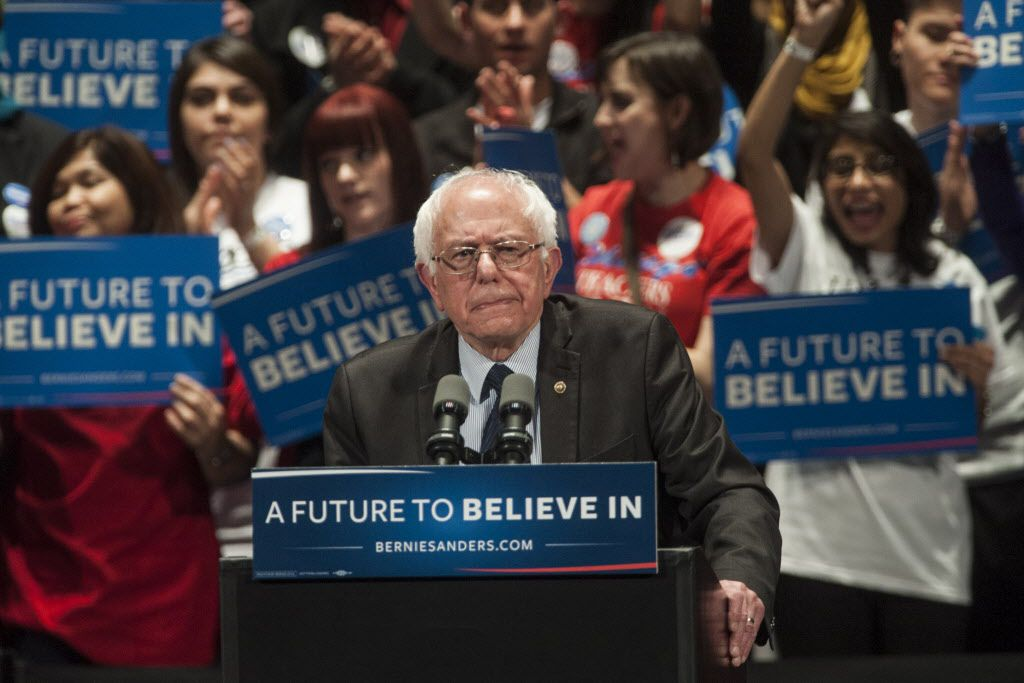 U.S. Sen. Bernie Sanders speaks to the crowd at the Auditorium Theatre of Roosevelt University on Monday night. | Ashlee Rezin/Sun-Times