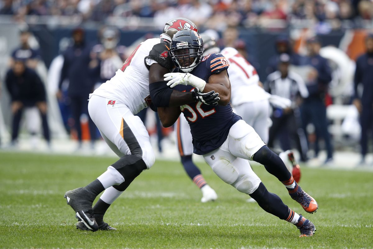 4711cfeb0 Khalil Mack  52 of the Chicago Bears runs against Demar Dotson  69 of the  Tampa Bay Buccaneers in the second quarter at Soldier Field on September  30