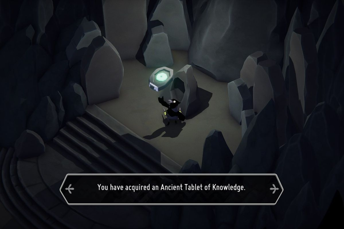 A small crow lifts up an Ancient Tablet of Knowledge with a glowing green eye on it.