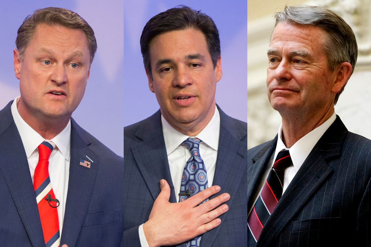Tommy Ahlquist, Rep. Raul Labrador and Lt. Gov. Brad Little are the three leading Republican candidates in Idaho's governor's race.