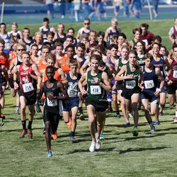 Runners start the 2A boys high school state cross-country championship race in Cedar City on Wednesday, Oct. 21, 2020.