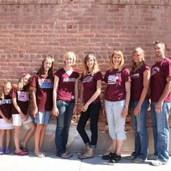 Breeja Larson and her family sporting Texas A&M T-shirts, the university that Larson attends. Larson has qualified to compete with the Olympic team in the 100-meter breaststroke in London this summer.