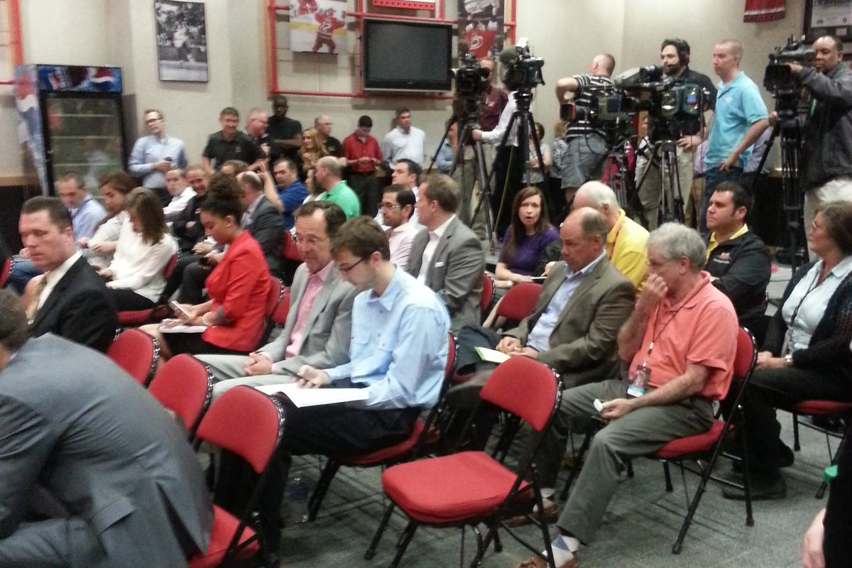 Standing room only at the PNC Arena on Monday for the press conference