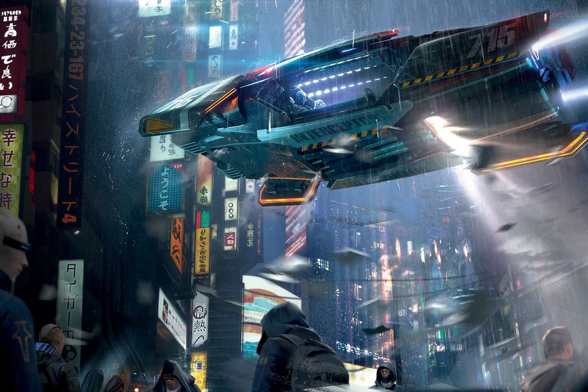 An airborne police vehicle hovers over the streets of Night City. Rain shatters off its armor while ranks of neon signs light it from above. Racks of chromed missiles hang underneath. A hooded figure lurks in the foreground.
