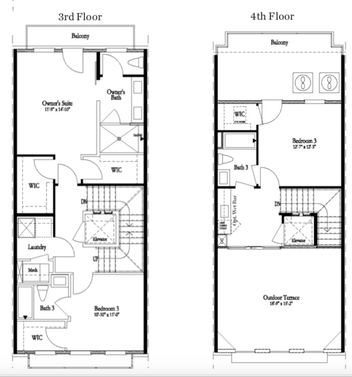 A floorplan of a townhome's top two levels.
