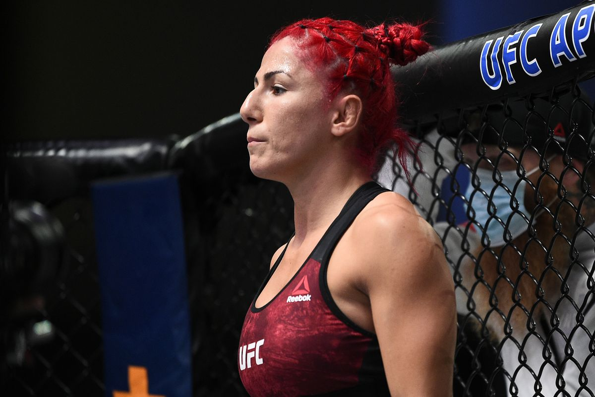 Randa Markos of Iraq prepares to fight Mackenzie Dern in their strawweight bout during the UFC Fight Night event at UFC APEX on September 19, 2020 in Las Vegas, Nevada.