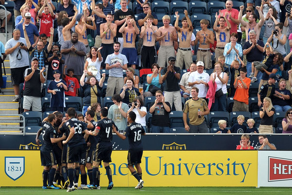 CHESTER PA - JULY 10:  The Philadelphia Union celebrate a first half goal against the San Jose Earthquakes at PPL Park on July 10 2010 in Chester Pennsylvania.  (Photo by Drew Hallowell/Getty Images)