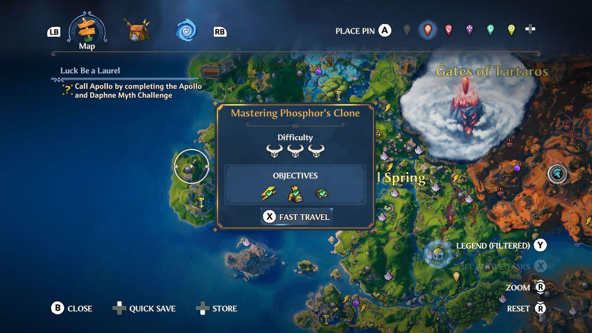A map screenshot from Immortals Fenyx Rising