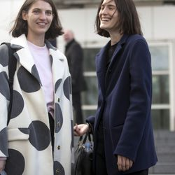 Polka-dotted outerwear outside of the shows.