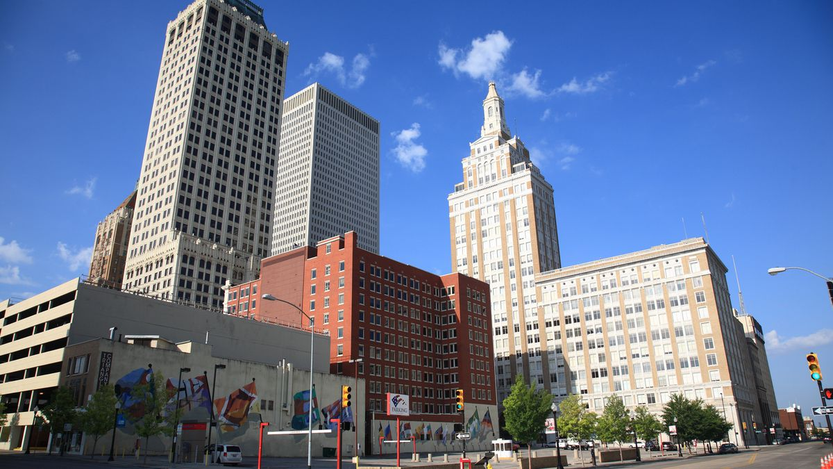 Downtown Tulsa skyline, featuring the city's large collection of Art Deco buildings.