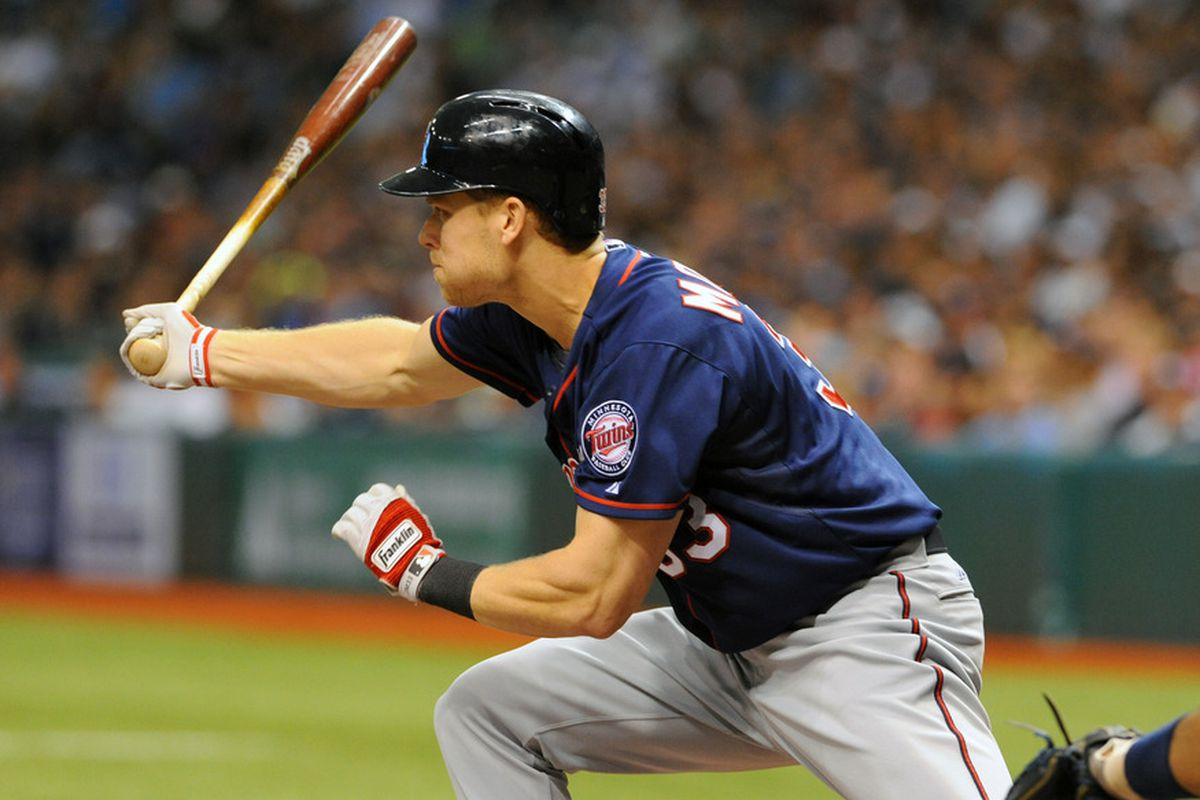 ST. PETERSBURG, FL - APRIL 21: Designated hitter Justin Morneau  of the the Minnesota Twins bats against the Tampa Bay Rays April 21, 2012  at Tropicana Field in St. Petersburg, Florida.  (Photo by Al Messerschmidt/Getty Images)