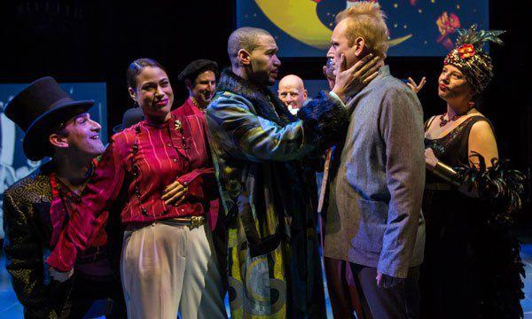 "Demetrios Troy (from left), Yadira Correa, Eric Lynch, Mark L. Montgomery and Nicole Wiesner in the Goodman theatre production of ""2666."" (Photo: Liz Lauren)"