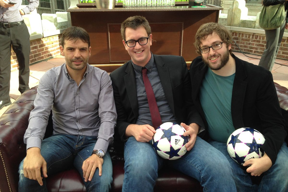 MM Co-founders Gabe Lezra (center) and Josh Zeitlin (right) chat with Fernando Morientes (left)