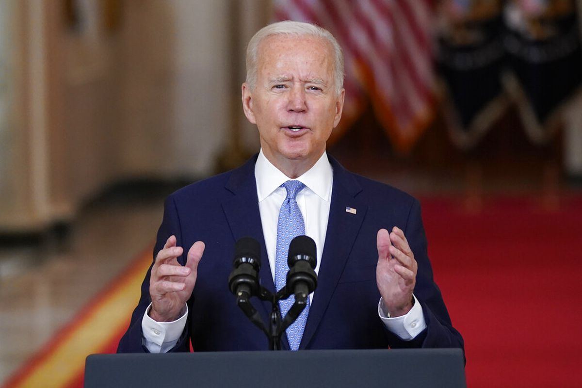 President Joe Biden about the end of the war in Afghanistan in Washington.