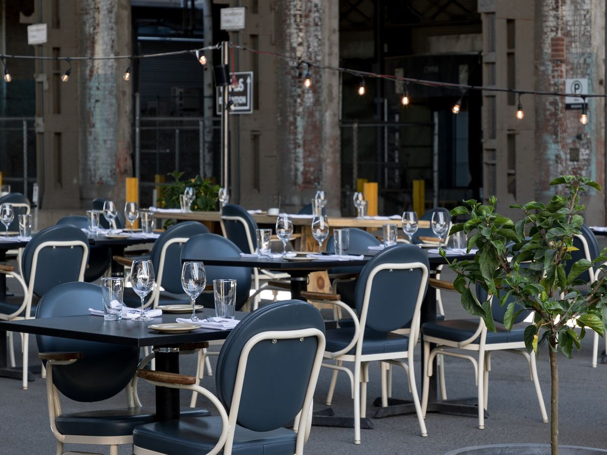 restaurant tables and chairs outside