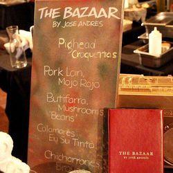 The Bazaar's menu board