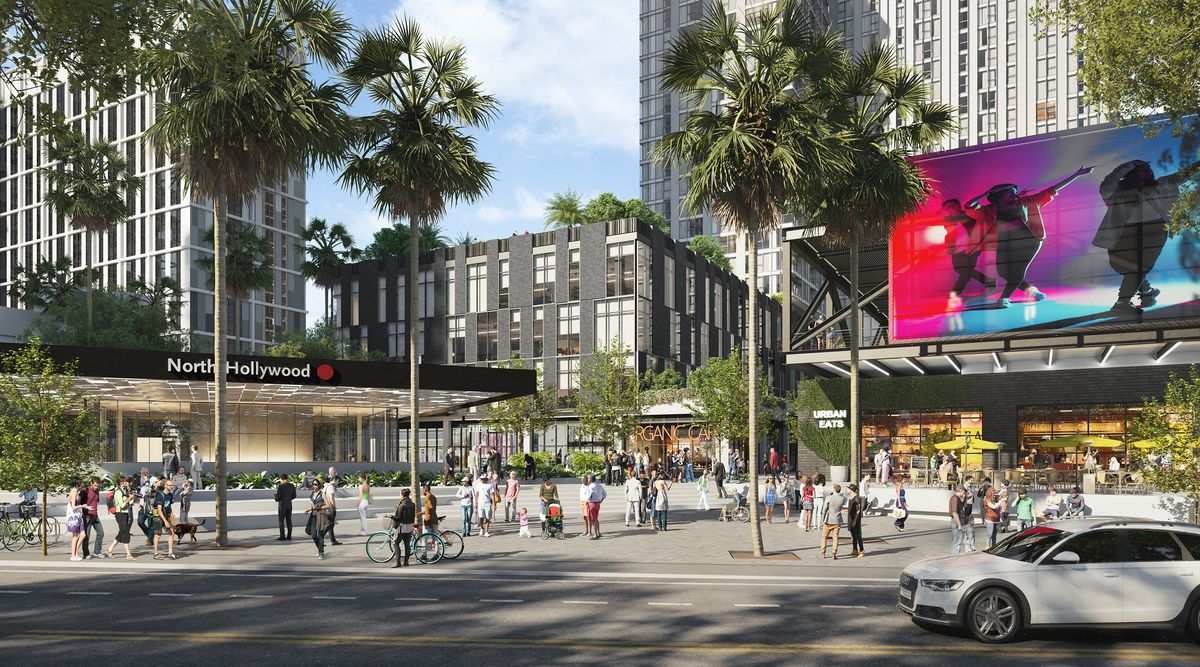 A renderings of a variety of mixed-use buildings in the background. In the foreground is a subway station entrance and people milling about.