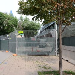 5:19 p.m. Construction fences extended out into the street, at Kenmore and Waveland -