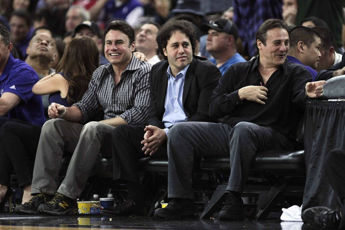 April 26, 2012; Sacramento, CA, USA; Sacramento Kings owners Phil Maloof, George Maloof, and Gavin Maloof sit court side during the second quarter against the Los Angeles Lakers at Power Balance Pavilion. Mandatory Credit: Kelley L Cox-US PRESSWIRE