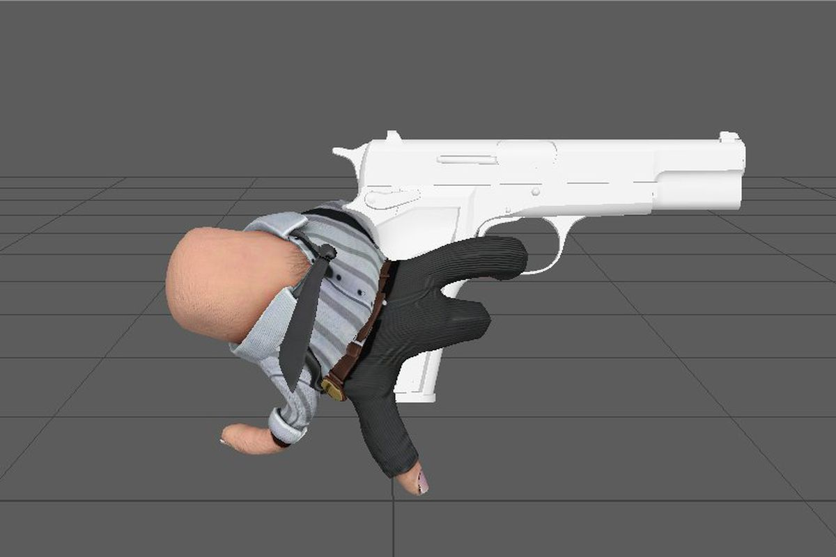 it's a hand dressed up in a button-up and slacks holding a gun the size of it's body. the fingers are wearing pants and are also pulling the trigger. yeah it's kind of weird looking.