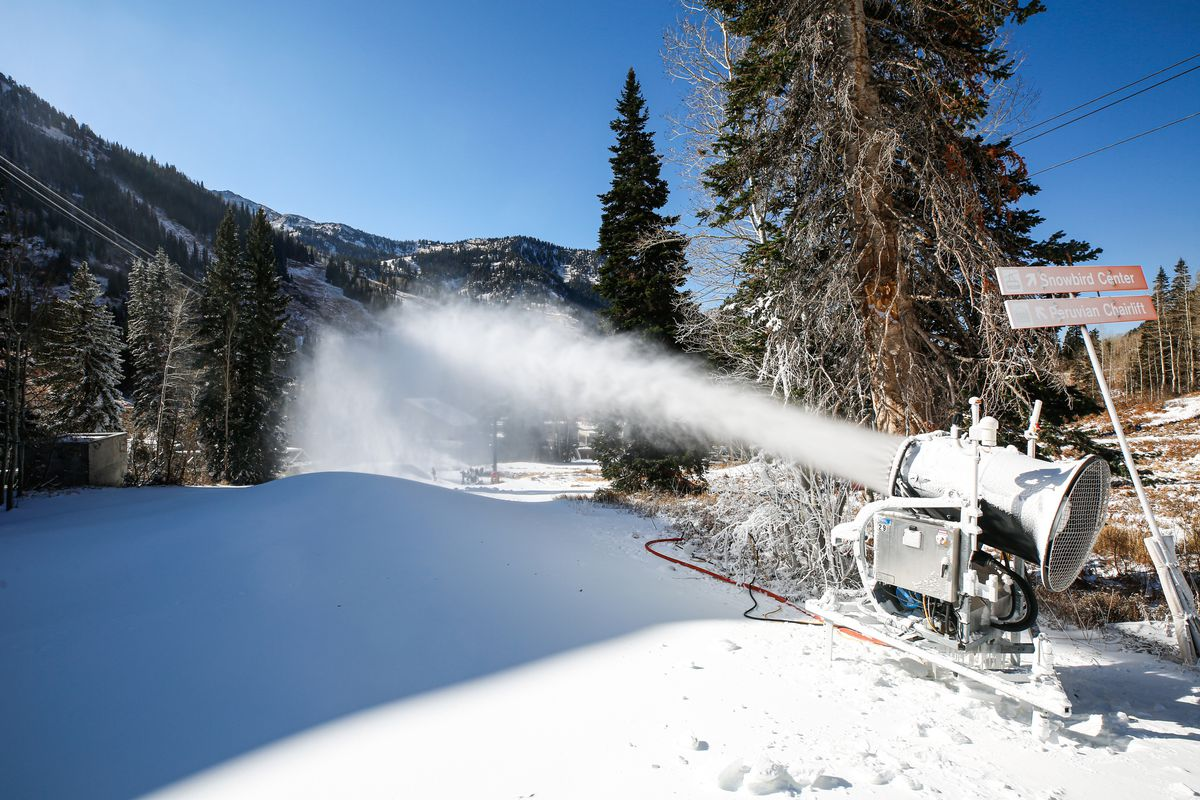 A snow machine makes snow in preparation for the upcoming skiing season at Snowbird Ski Resort in Sandy on Oct. 26, 2020.