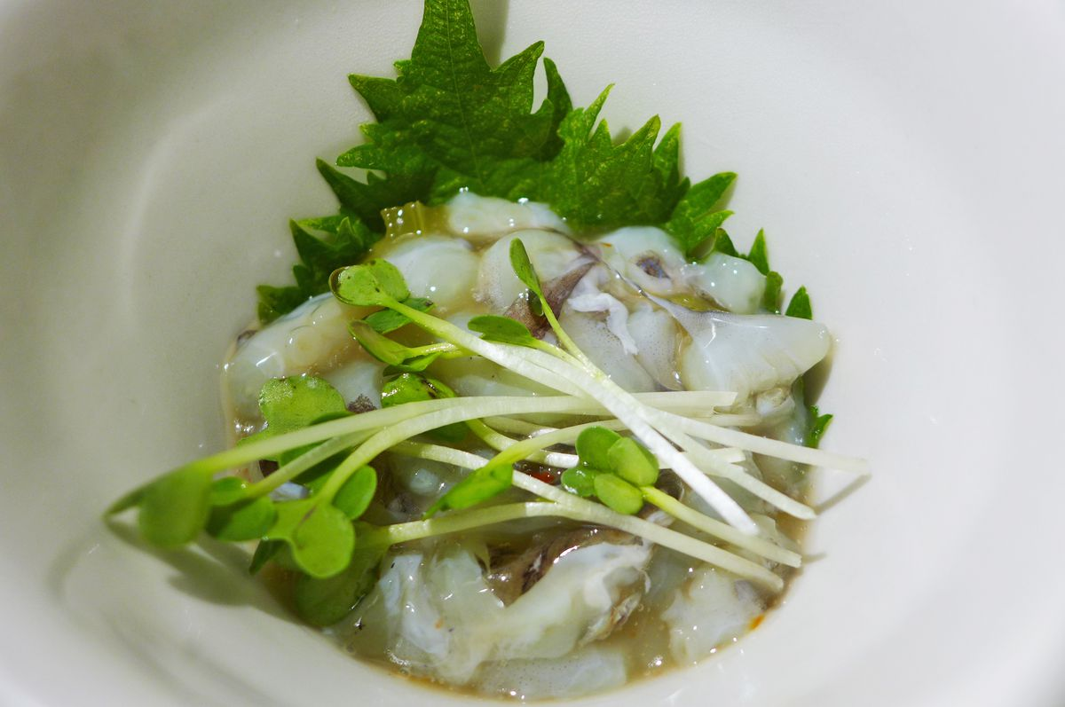 A small bowl of gooey raw octopus ceviche with a green shiso leaf and some sprouts...
