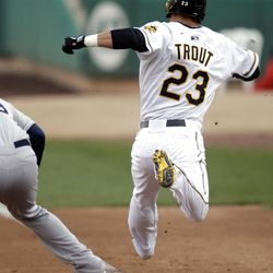 Mike Trout legs it to first base  as the Salt Lake Bees open the season at home  in Salt Lake City  Friday, April 13, 2012.