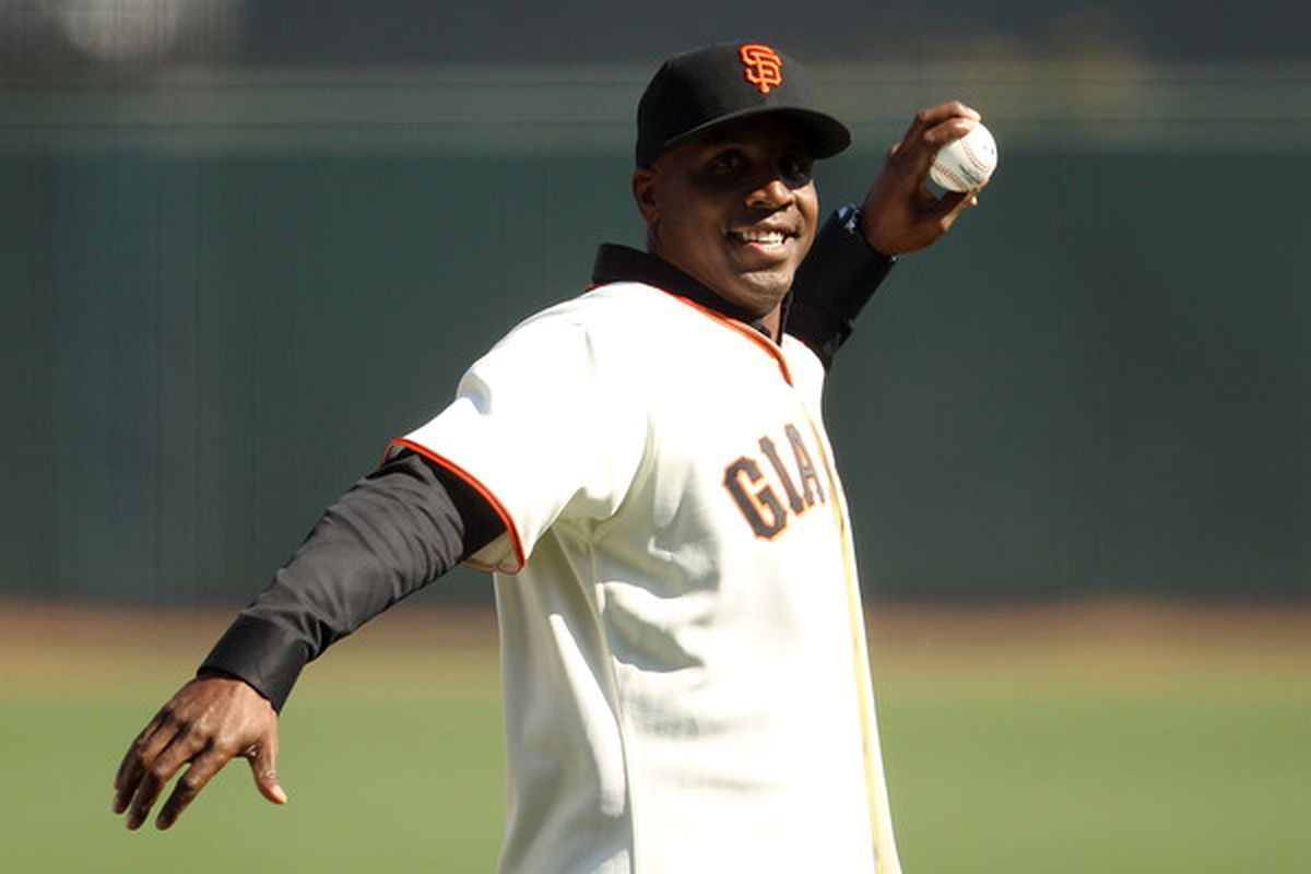 SAN FRANCISCO - OCTOBER 19:  Former San Francisco Giants outfielder Barry Bonds reveals his plans to one-up Babe Ruth by beginninga stint as a pitcher late in his career.