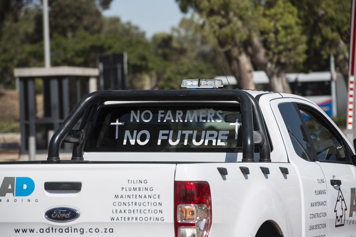 A Picture Shows Slogan On Pick Up Truck During Demonstration By South African Farmers Farm Workers At The Green Point Stadium To Protest Against