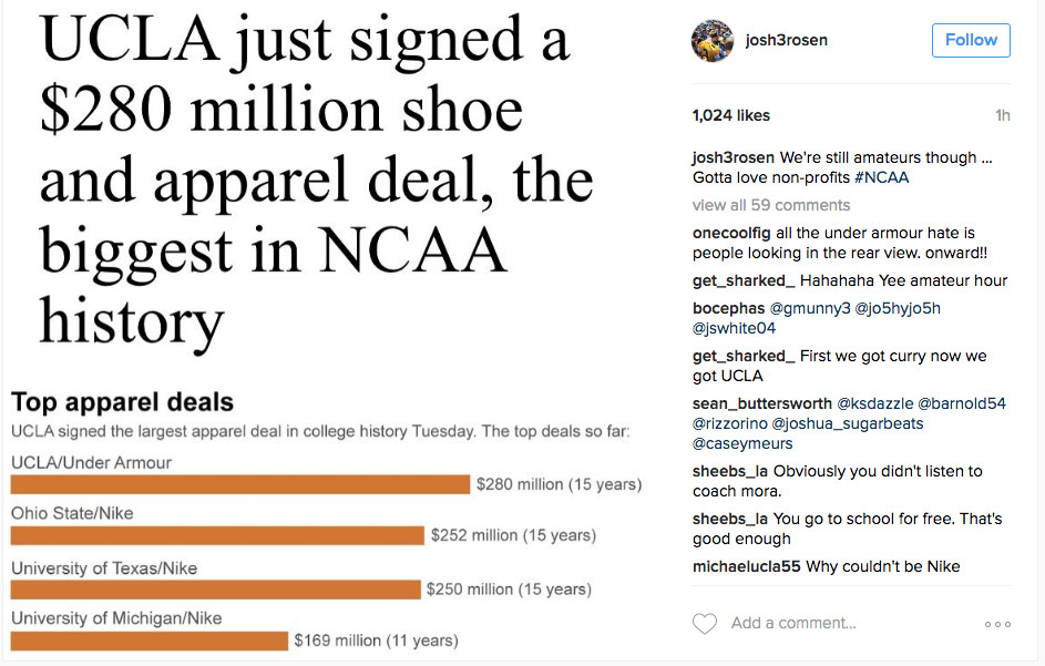 May 2016  After UCLA signs a record-breaking apparel deal with Under  Armour cf4c808e8