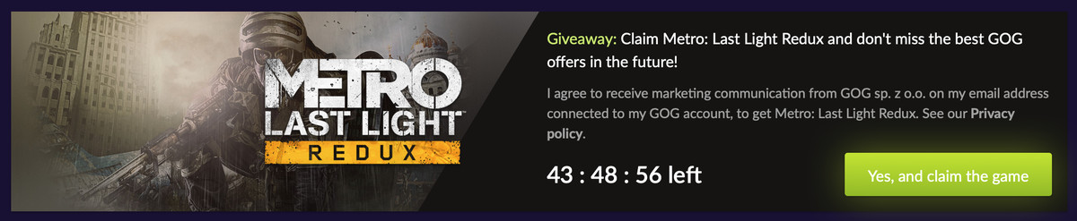 Screenshot from the GOG website showing the claim game button