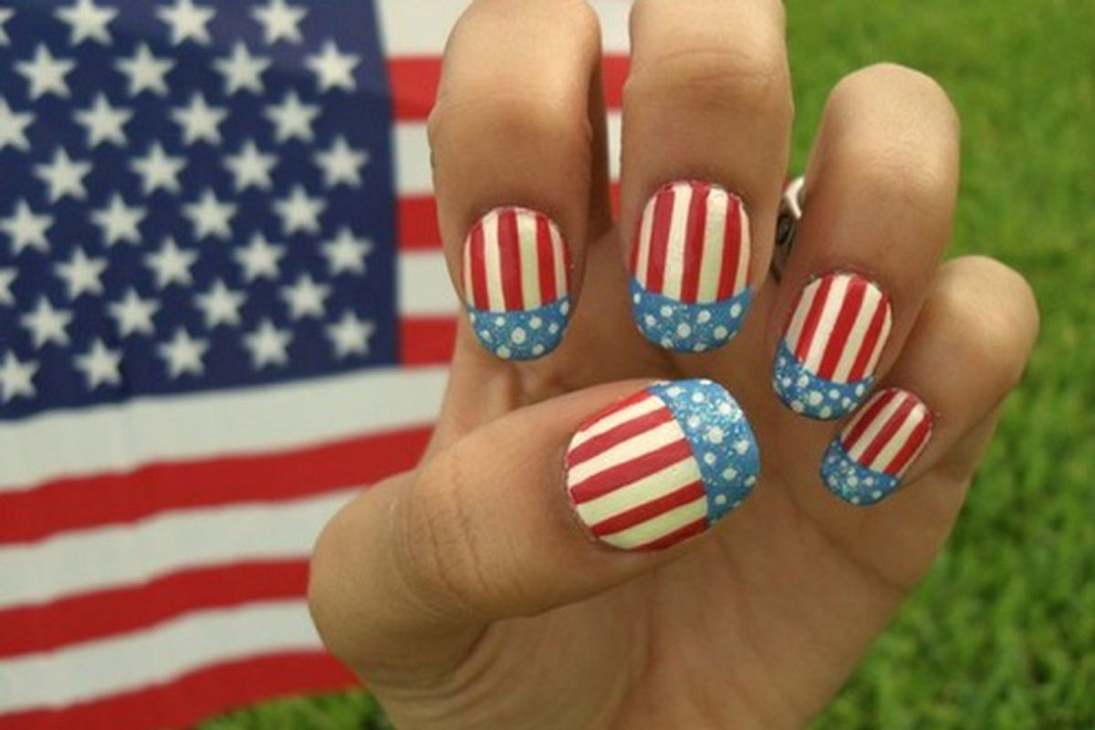 """Image via <a href=""""http://pinterest.com/pin/55872851597422738/"""">Melissa Farmer</a>. There's nothing French about this manicure."""