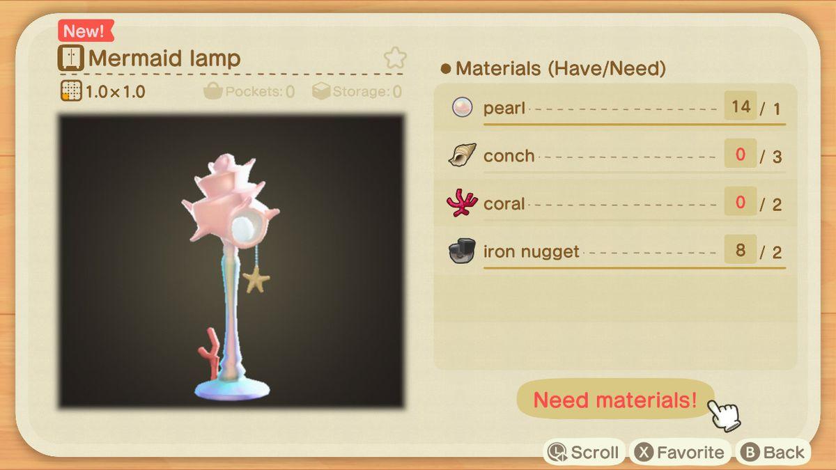 An Animal Crossing recipe for a Mermaid Lamp