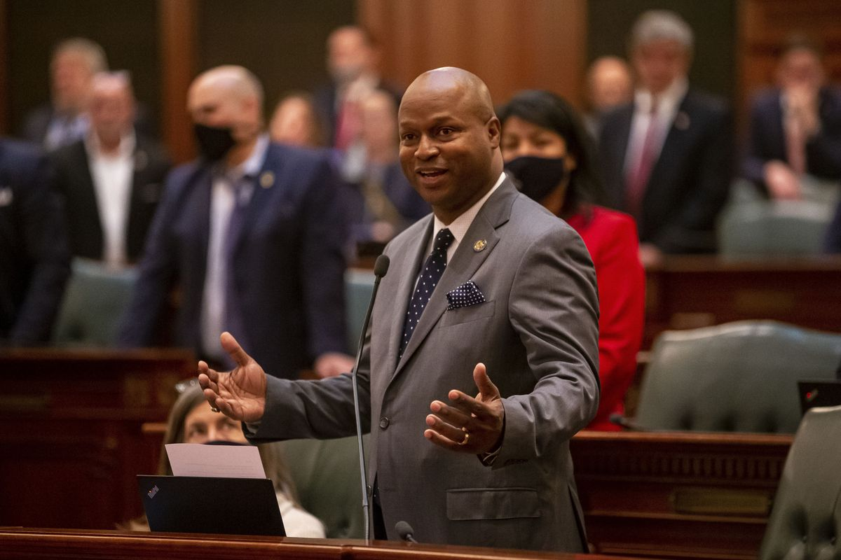 """In this June 1, 2021 file photo, Illinois Speaker of the House Emanuel """"Chris"""" Welch, D-Hillside, speaks at the Illinois State Capitol in Springfield,"""