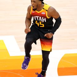 Utah Jazz guard Donovan Mitchell (45) cheers after being fouled on a 3-point attempt as the Utah Jazz and Memphis Grizzlies play Game 2 of their NBA playoffs first round series at Vivint Arena in Salt Lake City on Wednesday, May 26, 2021.