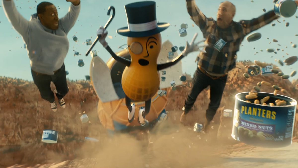 Mr. Peanut, Wesley Snipes (left) and Matt Walsh in a Super Bowl ad for Planters Peanuts.
