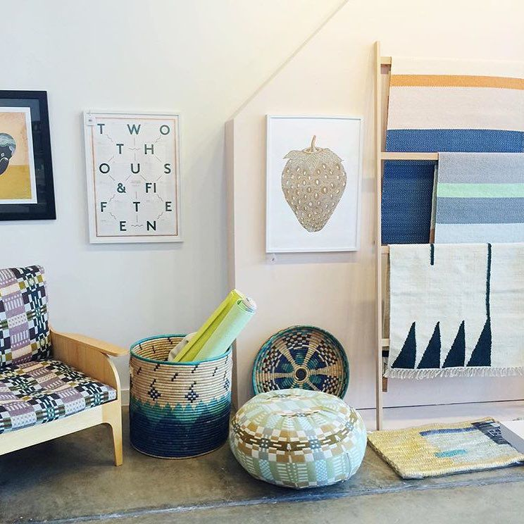 Multiple design objects on display at Nannie Inez in Austin, Texas.