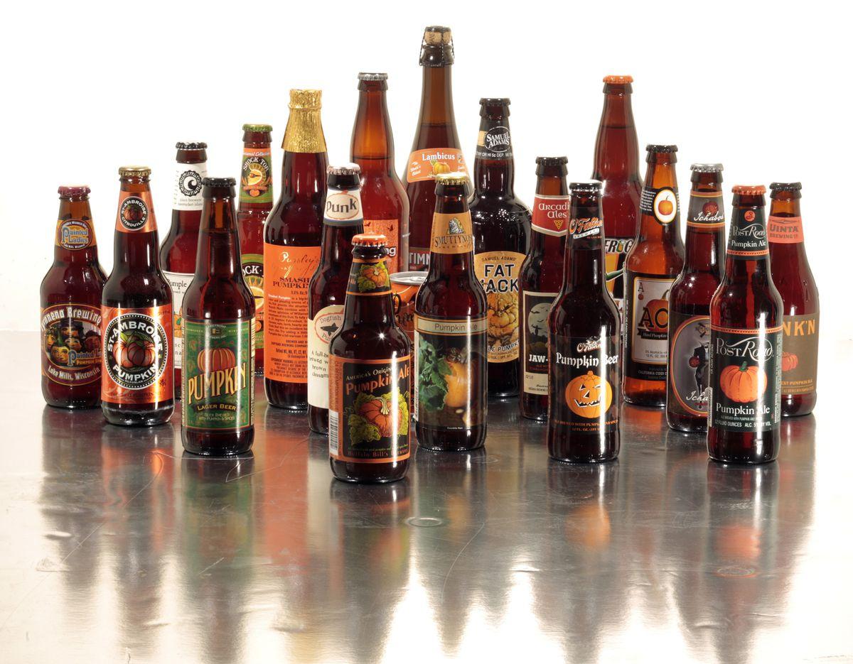 A line-up of pumpkin beers.