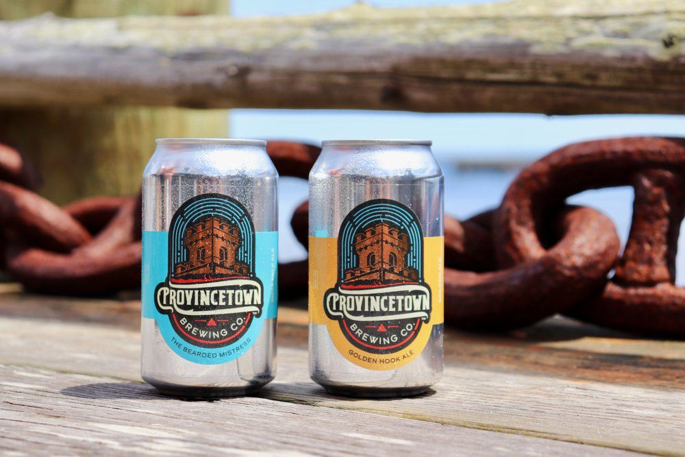 Two cans of beer, one with a blue label and another yellow, sit on a wooden dock in front of a thick, rusty chain