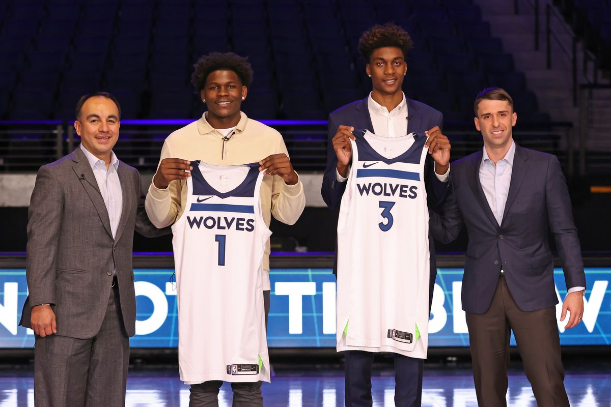 President of Basketball Operations Gersson Rosas and Head Coach Ryan Saunders pose for a photo with Jaden McDaniels and Anthony Edwards, draft picks of the Minnesota Timberwolves, during a virtual press conference on November 20, 2020 at Target Center in Minneapolis, Minnesota.