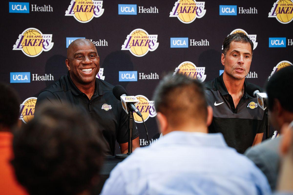 """Earvin """"Magic"""" Johnson & Rob Pelinka Los Angeles Lakers Media Availability"""